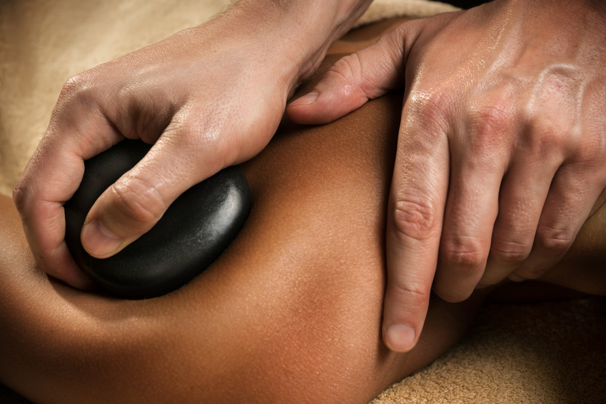 Stone therapy - massage close-up